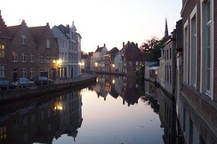 Canal in Bruges at dusk