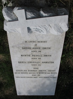 "Smith's gravestone in St Leonard's churchyard, Aldrington, Brighton and Hove. ""With malice towards none: with charity for all."""