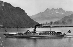 CGN paddle steamer in 1926 near Vevey with the Dents du Midi in background