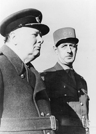 General Charles de Gaulle and British Prime Minister Winston Churchill in 1944.