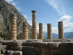 Remains of the Temple of Apollo at Delphi, Greece.