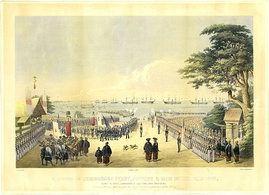 Landing of Commodore Perry and men to meet the Imperial commissioners at Yokohama, 14 July 1853.
