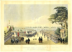Landing of Commodore Perry, Officers and Men of the Squadron To meet the Imperial Commissioners at Kurihama Yokosuka March 8th, 1854