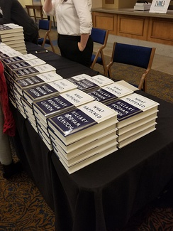 Copies of What Happened at an event on Clinton's book tour promoting the memoir