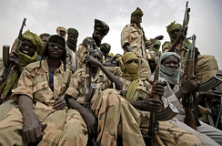 JEM rebels in Darfur. Both the government and the rebels have been accused of atrocities.