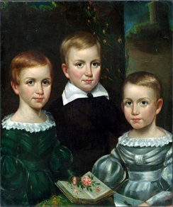 The Dickinson children (Emily on the left), ca. 1840. From the Dickinson Room at Houghton Library, Harvard University.