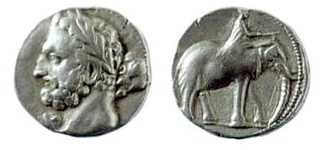 A Carthaginian shekel, dated 237–227 BC, depicting the Punic god Melqart (equivalent of Hercules/Heracles), most likely with the features of Hamilcar Barca, father of Hannibal Barca; on the reverse is a man riding a war elephant