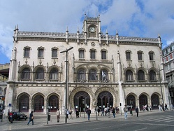 The Neo-Manueline (Portuguese Late Gothic) Rossio Station in Lisbon, Portugal