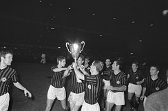 A.C. Milan celebrating after winning the European Cup Winners' Cup final in 1968