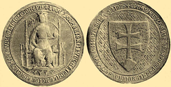"Louis I of Hungary' first seal, infamously lost (officially ""stolen"") during his campaign against Bosnia"
