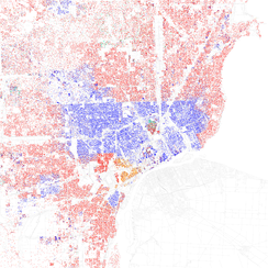Map of racial distribution in Detroit, 2010 U.S. Census. Each dot is 25 people: White, Black, Asian, Hispanic or Other (yellow)