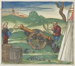 Contemporary illustration on how a cannon could be used with the aid of quadrants for improved precision.