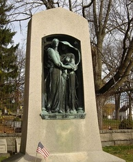 Butler's memorial at the Hildreth family cemetery in Lowell, Massachusetts