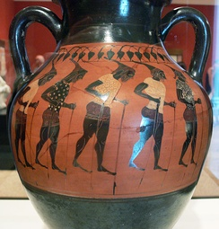 Getty Villa – Storage Jar with a chorus of Stilt walkers – inv. VEX.2010.3.65