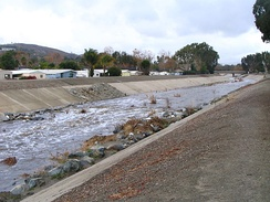 Drop structure viewed during rainfall, near the San Juan-Trabuco confluence