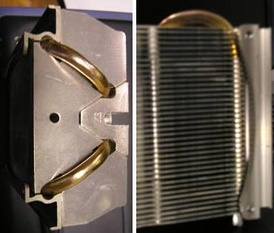 A heat sink (aluminium) incorporating a heat pipe (copper)