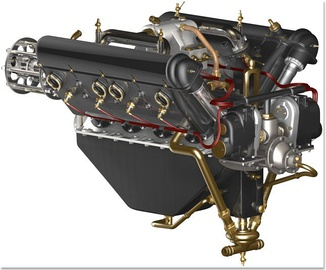 "1914-1918 Hispano-Suiza 8Be SOHC aircraft engine with ""tower shafts"" at the rear of each cylinder bank"