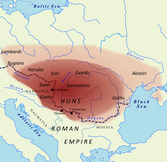 Territory under Hunnic control in 450 AD