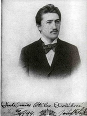 "Portrait of Dvořák's son-in-law, the composer Josef Suk, with dedication: ""Drahé miss Otilce Dvořákové"" (""To dear miss Otilka Dvořáková""), 1894."
