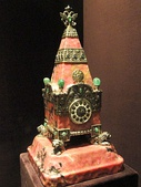 Kremlin Tower Clock; 1913; rhodonite, silver, enamel, emeralds, sapphires; by House of Fabergé; Cleveland Museum of Art
