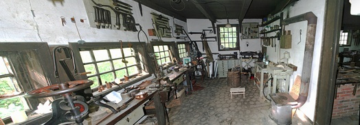 Workshop of a coppersmith in Cloppenburg; the oldest units are from the period around 1850