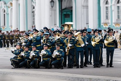The brass section of the Band of the General Staff of the Armed Forces of Kyrgyzstan in St. Petersburg.