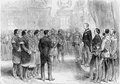 Mi'kmaq Grand Chief Jacques-Pierre Peminuit Paul (3rd from left with beard) meets Governor General of Canada, Marquess of Lorne, Red Chamber, Province House, Halifax, Nova Scotia, 1879