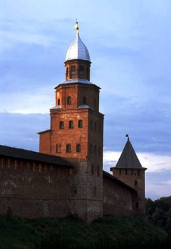 Medieval walls of the Novgorod Kremlin from the late 15th century. The Kokui tower (left) dates from the 17th century; its name is of Swedish origin.