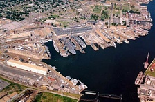 Aerial view of Norfolk Naval Shipyard