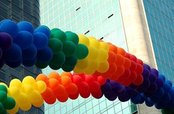 Decorative rainbow colored arches made of party balloons used at the gay pride parade in São Paulo, Brazil.