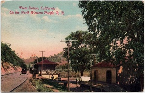 1912 postcard of the Northwestern Pacific Railroad station at Pieta