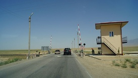 Rail crossing in northern Afghanistan on the line towards Uzbekistan