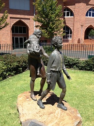 "The ""Mother and Son"" sculpture at Scotch College, Melbourne, which celebrates the role of mothers in the boys' lives and education"