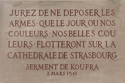A plaque commemorating the Oath of Kufra in near the cathedral of Strasbourg