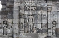 A Bodhisattva flanked by two Taras in Sewu temple.