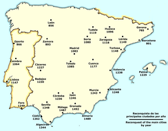 Reconquista of the main towns (per year) (in Spanish).