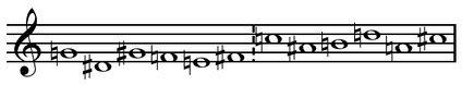 Gruppen tone row (Harvey 1975, 58; Misch 1998, 161; Whittall 2008, 185; Stockhausen & 1963b 116, and Maconie 2005, 149 show this row transposed up a tritone).[why?] See tone row for Klavierstück IX.  Play (help·info)