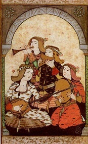 Female musical players. Ottoman miniature painting, 18th century.