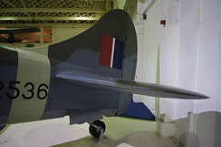 Rear fuselage and tail of a Tempest II