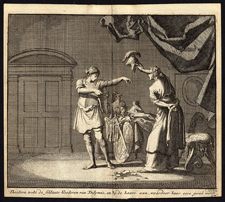Theodora and Didymus exchange clothes in the brothel - antique print