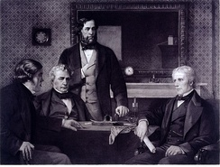 Three Fellows of the Royal Society offering the presidency to Faraday, 1857