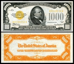 $1000 Gold Certificate (1934) depicting Grover Cleveland