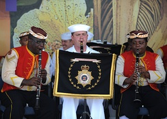 The Jamaica Regiment band performed with members of the United States naval band.