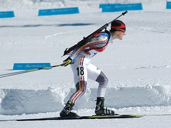 Uschi Disl of Germany, won one gold, one silver, and one bronze in the biathlon.