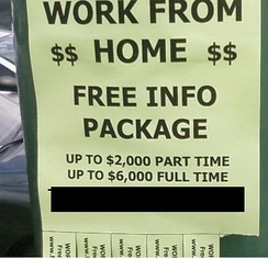 "A possibly fraudulent ""work from home"" advertisement"