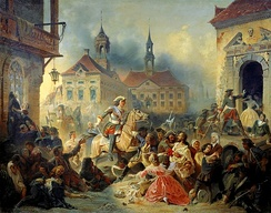 Peter I of Russia pacifies his marauding troops after retaking Narva in 1704, by Nikolay Sauerweid, 1859
