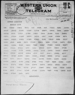 The Zimmermann Telegram as it was sent from Washington to Ambassador Heinrich von Eckardt (who was the German ambassador to Mexico)