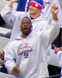 Giants defensive end Justin Tuck at the Giants Super Bowl XLII parade on February 5, 2008.