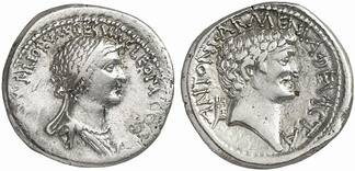 "A denarius minted in 32 BC; on the obverse is a diademed portrait of Cleopatra, with the Latin inscription ""CLEOPATRA[E REGINAE REGVM]FILIORVM REGVM"", and on the reverse a portrait of Mark Antony with the inscription reading ""ANTONI ARMENIA DEVICTA""."