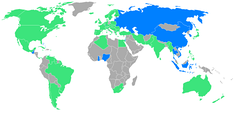 Participating nations. Pictured in blue are nations participating for the first time. Yellow dot: Helsinki